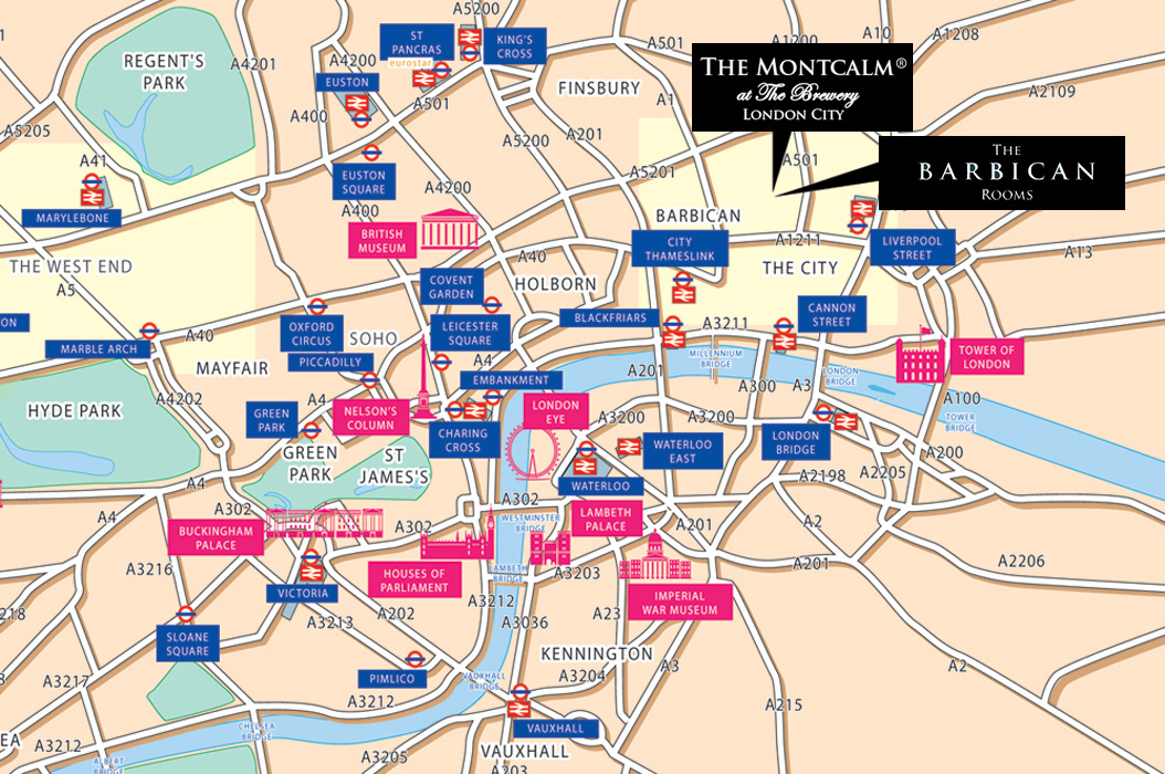 London City Area Map.Location Underground Map The Montcalm At The Brewery London City